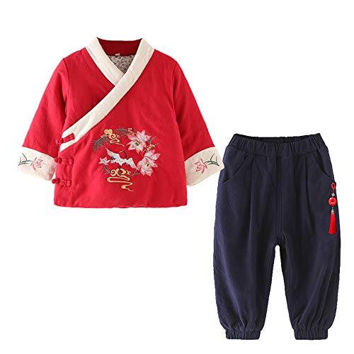 Traditionellen Baby Kostüm Chinesischen - DAZISEN Baby Mädchen Winter Tang Anzug - Traditionelle Chinesischen Stil Hanfu Langarm Top & Hose Chinesische Kleidung Set, Rot-2/140
