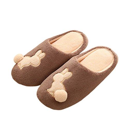 Meijunter Cute Cartoon Intérieur Coton Chaussures Doux Chaud Accueil Chaussons brown