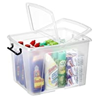 Strata Smart Box Box with Clip-On Folding Lid Carry Handles Clear