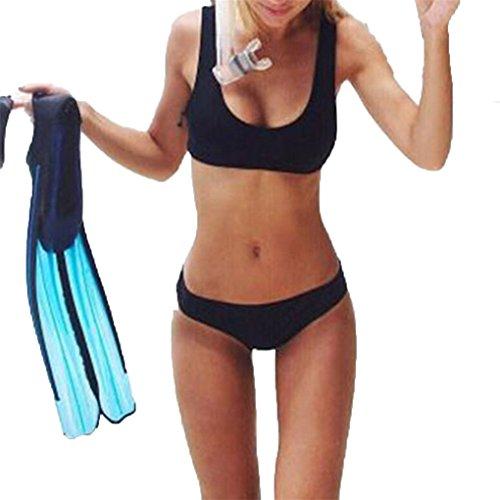Damenmode Damen Sommer Bademode Bikini für Frauen Mädchen Big Badeanzug JYJM Rosa V-förmiger BikiniMit abnehmbarem Schwarzer Bikini mit geteilter Schulter (L, Schwarz) (Bikini Strumpfband)