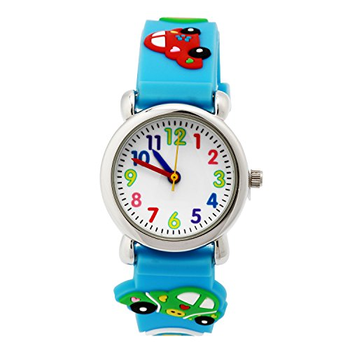 Mixe-Time-Teacher-Kids-Boys-Girls-3D-Car-Sky-Blue-Rubber-Strip-Analog-Watches-Cartoon-Birthday-Xmas-Gift
