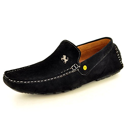 Mens Black Slip On Faux Suede Casual Loafers Moccasins Shoes Size 8
