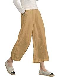 21d28701ce8 Ecupper Women s Plus Size Elastic Waist Cotton Capri Pants Relaxed Loose  Casual Cropped Trousers