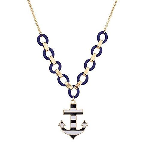 LUX Zubehör Blau, Schwarz und Weiß Groß Anker Halskette
