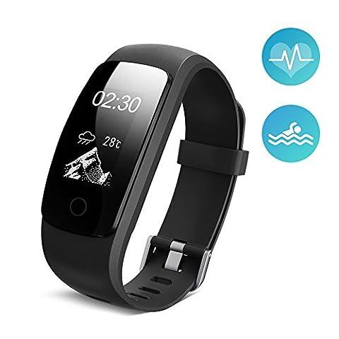 Ikeepi Bracelet d'Activité Fitness Tracker Smart Bracelet Cardiofréquencemètre Bluetooth 4.0 Montre Sport Podomètre Calories Sommeil pour Android iOS Téléphone
