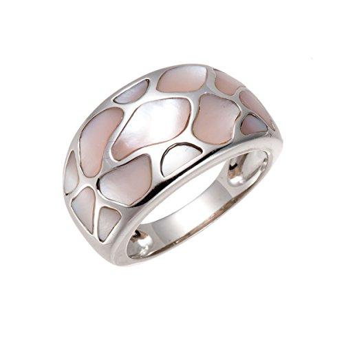 hutang Jewelry–Pendientes de plata de ley Fancy Puzzle de corte rosa madre de Pearl Ring