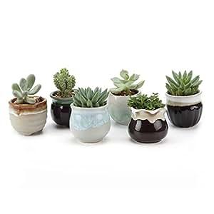 T4U Flowing Smalto Nero&bianco Base Seriale Ceramica Vaso di Fiori Pianta Succulente Cactus Vaso di Fiori Contenitore Impianto Vasi Vivaio, Confezione da 6
