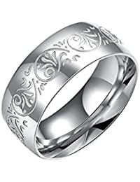 SMARTBUYER, Pick any 2, 8MM Stainless Steel Ring Band Silver plated colour Unisex size20 ONLY