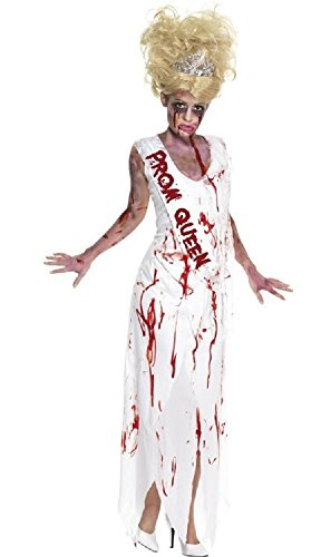 Fancy Me Damen High School Prom Queen Prinzessin Zombie Mädchen Halloween Kostüm Kleid Outfit UK 8-18 - Weiß/Rot, 8-10 (Zombie Queen Halloween Kostüm Prom)
