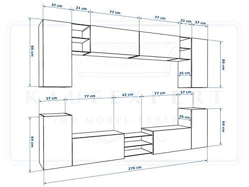 Wohnwand G Grau Hochglanz/ Schwarz ✔ Gehärtetes Glas ✔ ABS- Kanten ✔ Kanten in Hochglanz ✔ MDF-Fronten ✔ LED Beleuchtung ✔ Push To Open ✔ Grifflos ✔ Modern ✔ Design ✔neue bessere Version (anderer Hersteller) - 3