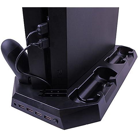 Pandaren 4 in 1 basamento verticale con ulteriori 3 porte USB e di raffreddamento Fan & 4 Regolatore di carica per PS4 (nero)