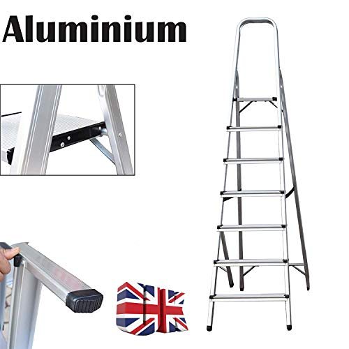 Escalera de aluminio de 7 peldaños, antideslizante, plegable, ligera, 150 kg, carga máxima...