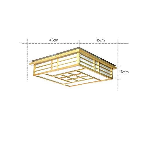 AG Home Schlafzimmer Deckenleuchte, Deckenleuchte, Holzlampen Deckenleuchten Japanische Led Solid Wohnzimmer Schlafzimmer Balkon Logs Light Deckenleuchte [Energieklasse A +++],Weißes Licht 45 * 45 * -