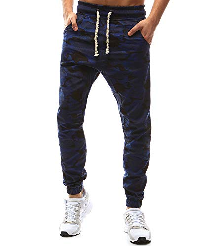 ELECTRI Homme Pantalons Sport Running Jogging Fitness Baggy Survêtement Rayure Sports de Loisirs Mode Casual Atomne Hiver (XL, Marine A)