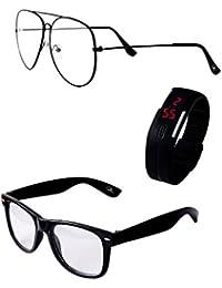 RST Wayfarer & Aviator With LED Watch Set Of Three Sunglasses & Goggles