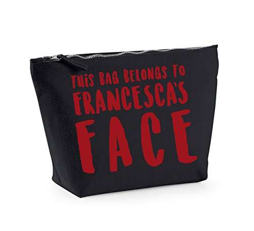 This Bag Belongs to... - Personalised Name - Fun Slogan, Make Up and Cosmetics Bag, Accessory Organiser Black/Red