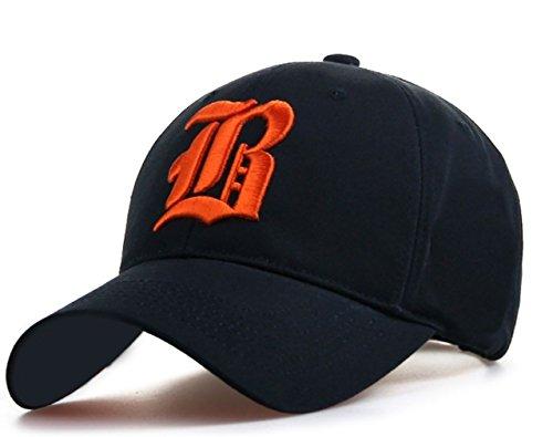 Casquette Réglable casquette de baseball inscription lettrage noir blanc hip-hop Star chapeau black B orange
