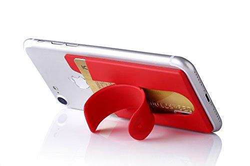 Smartphone Kartenhalter und Ständer aus Silikon | Case Etui Fitness Geldbeutel Geldbörse Halter Halterung Handy Hülle Kopfhörer Kreditkartenhalter Sport | Apple iPhone 7 Samsung Galaxy 8 (Rot)