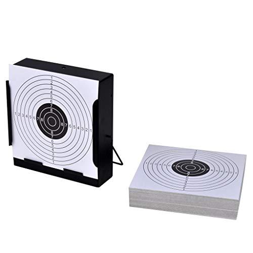 Galapara Zielscheiben-Halterung Scheibenkasten mit Kugelfänger, 14 cm + 100 Papier-Ersatzzielscheiben für Luftpistole Kugelfang Luftgewehr