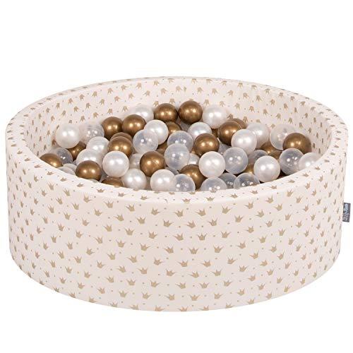 KiddyMoon 90X30cm/200 Balles ∅ 7Cm Piscine À Balles pour Bébé Rond Fabriqué en UE, Or-Ecru:Or/Transparent/Perle