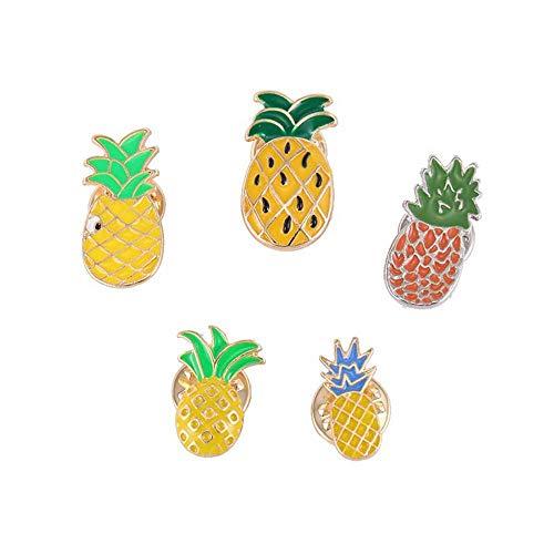 MJARTORIA Mädchen Kinder Cartoon Emaille Brosche Ananas Damen 3D Anstecker Zubehör für Kleider Umhang Kragen Anstecknadeln Pins 5pcs (Ananas)
