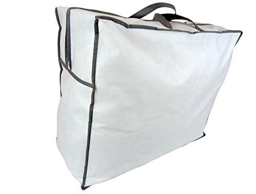 Aufbewahrungstasche für Bettdecken und Kissen | Trage-Tasche für Bettzeug oder Matratzenauflagen | handliche Reißverschluss-Box aus Vlies | 60cm x 50cm x 25cm