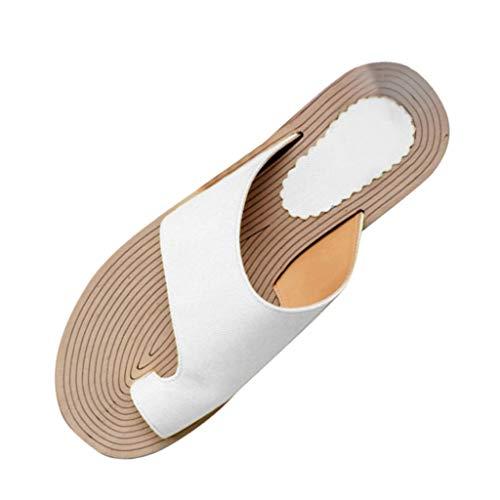 Lucky Mall Frauen Volltonfarbe Flache Flip-Flops Sandalen, Damen Offene Zehensandalen Sommer Strandschuhe Römische Sandalen Mode Freizeitschuhe