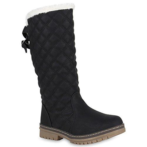 Damen Schlupfstiefel Warm Gefütterte Stiefel Gesteppte 150077 Schwarz Gesteppt 36 Flandell (Gesteppte Stiefel)