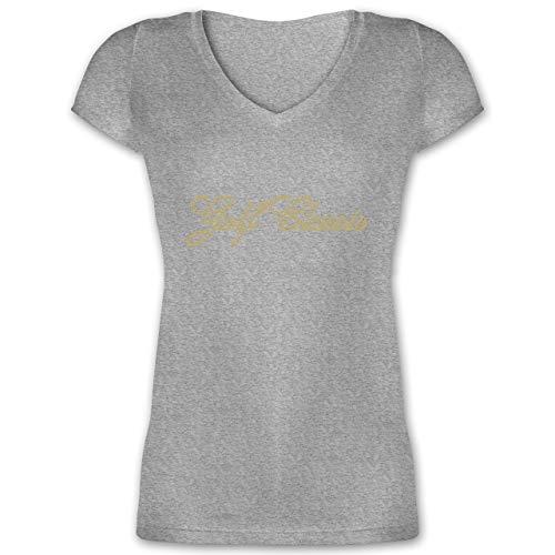 Golf - Golf Classics - XXL - Grau meliert - XO1525 - Damen T-Shirt mit V-Ausschnitt -