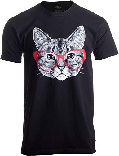 Katzenmotiv - lustiges Shirt mit süßem Kätzchen mit roter Linda-Belcher-Brille Herren/Unisex T-Shirt -Men,XL