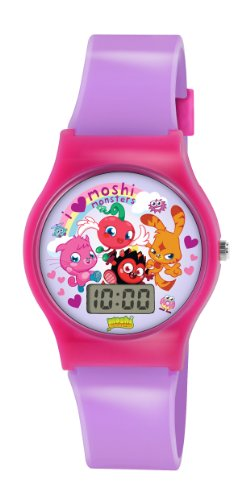 Image of Moshi Monsters Children's Digital Watch with Multicolour Dial Digital Display and Purple PU Strap MM020