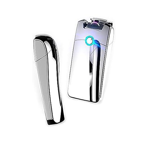 USB-wiederaufladbare Lichtbogen-Feuerzeug, elektronische Spule, winddicht, flammenlos, Zigaretten-Plasma-Feuerzeug, elegante Geschenk-Box (Silber)