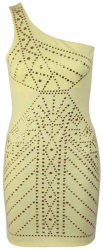 Purple Hanger - Damen Kleid Asymmetrisch Einschultrig Figurbetont Nieten Mini Kleid Gelb
