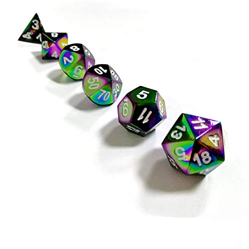 Sunnay 7 Stück Metall Würfel DND Polyhedral Solid Metall D&D Würfel Nickel Set mit Zahlen,Einsteigerset A5 Stil - 7 Stück Metall