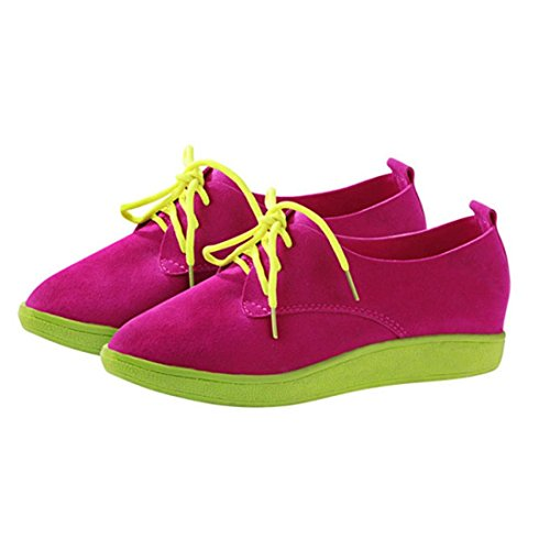 jeansian Moda Donna Scamosciato Casuale Scarpe Basse da Ginnastica Sneakers Loafers Shoes WSB081 Pink 36
