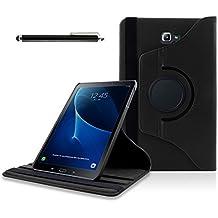 Samsung Galaxy Tab A 10.1 Funda, SAVFY Giratoria 360 grados Stand PU Funda Flip Set ( con Auto Reposo / Activación Función ) + Protector de la Pantalla + Lápiz Optico para Samsung Galaxy Tab A 10.1 2016 SM-T580N / T585N, Negro