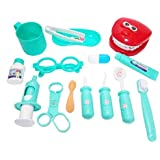 Pepperonz 15 Pieces Dentist Doctor Medical Set Pretend Play Toys For Kids Made From ABS Materials (Rama Green)