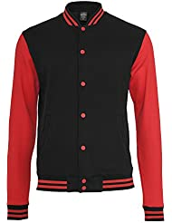 URBAN CLASSICS 2-Tone College Sweatjacke TB207 black/red XL