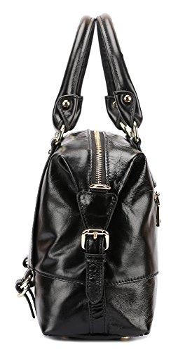 borgasets Femme Vintage Style Hobo Sac bandoulière Sac en Cuir Véritable doux Noir - noir