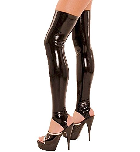 CHICTRY Women's Wet Look Thigh High Latex Stirrup Tights Stockings Costume