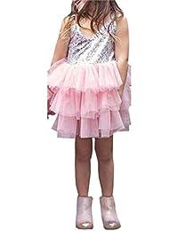 Obxguwn Lentejuelas Slaghetti Strap A-Line Baby Girl Mesh Summer Causal Beach Mini Vestido
