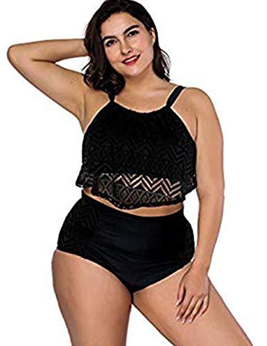 FeelinGirl Damen Bademode Tankinis Schwimmen Kostüm 2 Stück Badeanzug Sets Plus Größe 4XL Schwarz