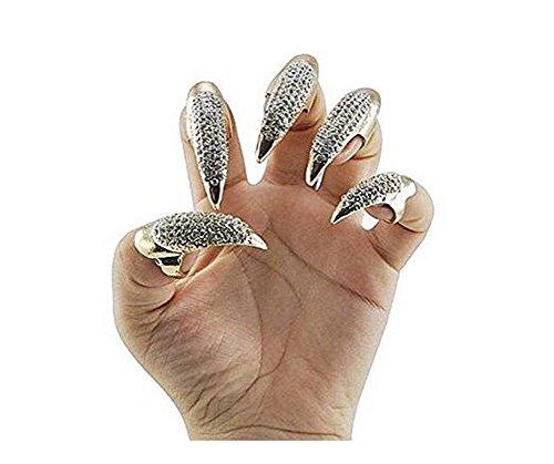 5 STÜCKE Gothic Punk Kristall Vollfinger Ringe Gepflasterte Pfote Bend Fingerspitze Fingernagel Klaue Mädchen Frauen Männer Ring Falsche Einfache Lange Nägel ()