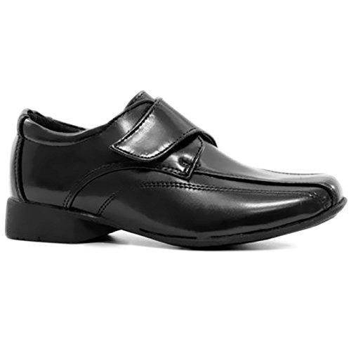 Kinder Schuhe für Jungen für Hochzeiten, Feste, Klettverschluss, rutschfest, Kunstleder Black / Single Touch