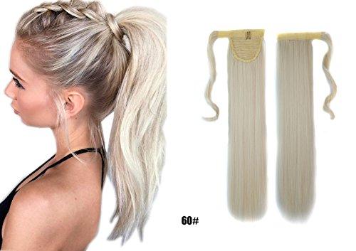60cm Glatt Lang Platinblond 60# Clip in Hair Extensions Haarverlängerung Haarteil Wrap Around Pferdeschwanz Zopf (In Zopf Zopf)
