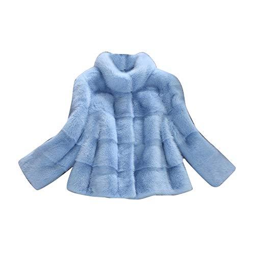 Donna Caldo di Lusso Faux Pelliccia di Volpe Cappotto Corto Blu M cfd7ae484ebf