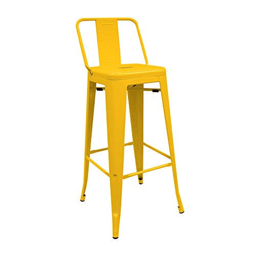 regalosMiguel - Taburete Industrial Torix Amarillo con Respaldo (Inspirado en la Línea Tolix)