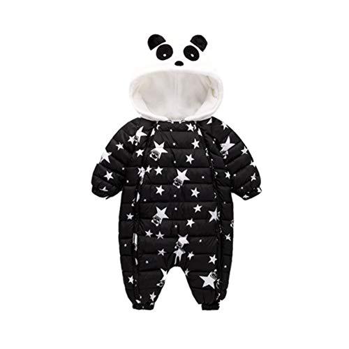 Sweetheart -LMM Neugeborenes Unisexbaby-Winter-Overall-mit Kapuze Spielanzug-Vlies Onesie Alles in Einem Schnee-Klage-Ausstattungs-Halloween-Cosplay Kostüm (schwarz, 80 cm)
