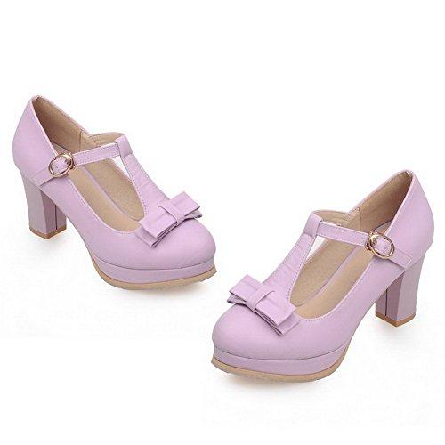 VogueZone009 Femme Couleur Unie Pu Cuir à Talon Haut Rond Boucle Chaussures Légeres Violet