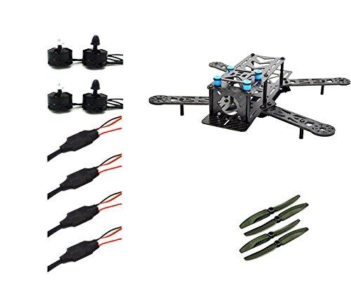 LHI 250 mm Pro Pure Carbon Fiber Quadcopter Race Copter Frame Kit ARF + MT2204 2300KV Motor + Simonk 12A ESC + 6030 CF Propeller Prop -US